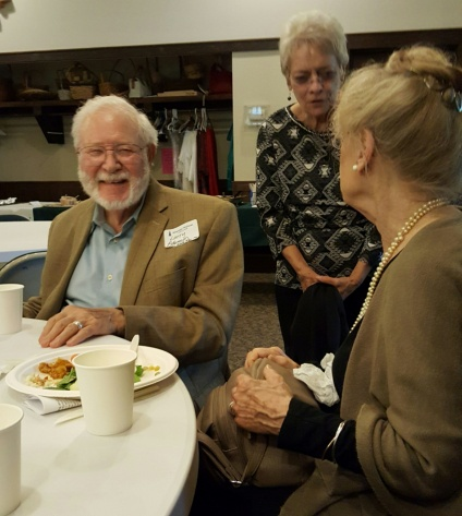 Larry Adamson and Beverly Ohler share stories after church.Homecoming 2017